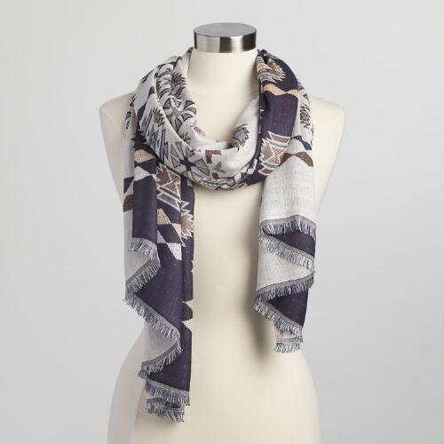 Purple and Peach Southwest Jacquard Scarf