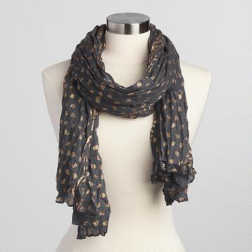 Charcoal and Gold Scarf