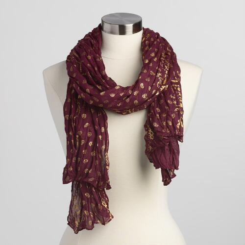 Wine and Gold Scarf