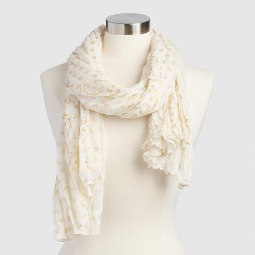 Ivory and Gold Scarf