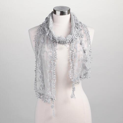 Light Gray Lace Scarf