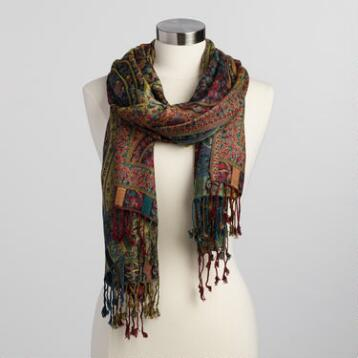 Oversized Earthy Jacquard Scarf