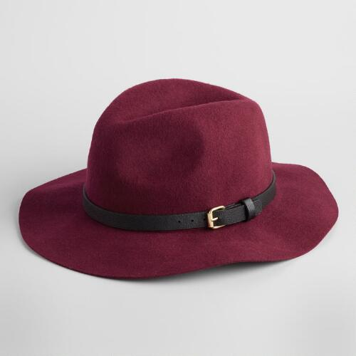 Burgundy Wool Fedora with Leather Band