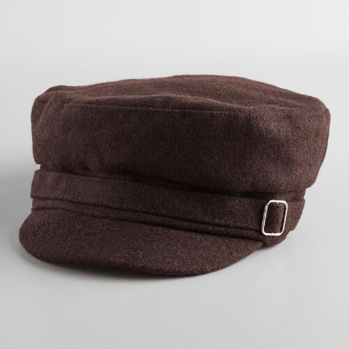 Olive Newsboy Hat with Buckle