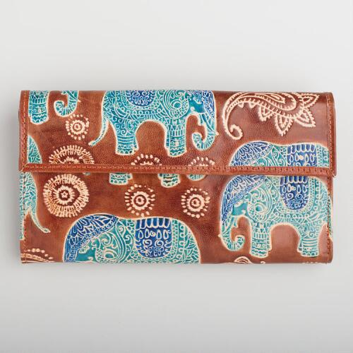 Brown Leather Elephant Wallet