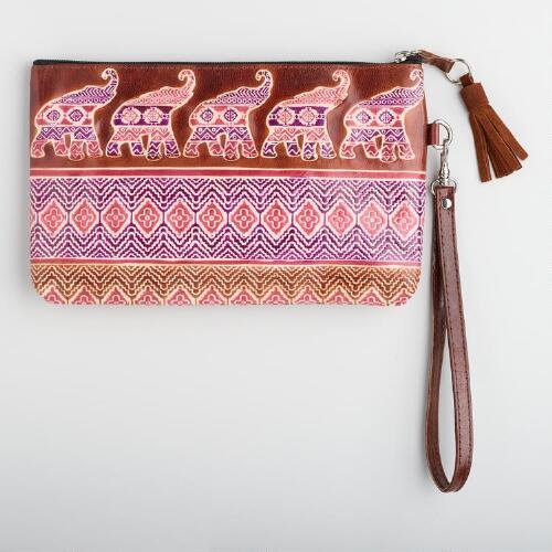 Pink Leather Elephant Clutch
