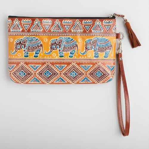 Yellow Leather Elephant Clutch