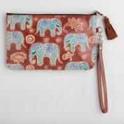 Blue Leather Elephant Clutch