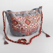 Gray Embroidered Crossbody Bag