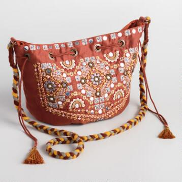 Rust Embroidered Crossbody Bag