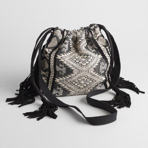 Black and White Bucket Bag with Suede Fringe