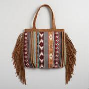 Brown and Mint Woven Tote with Suede Fringe