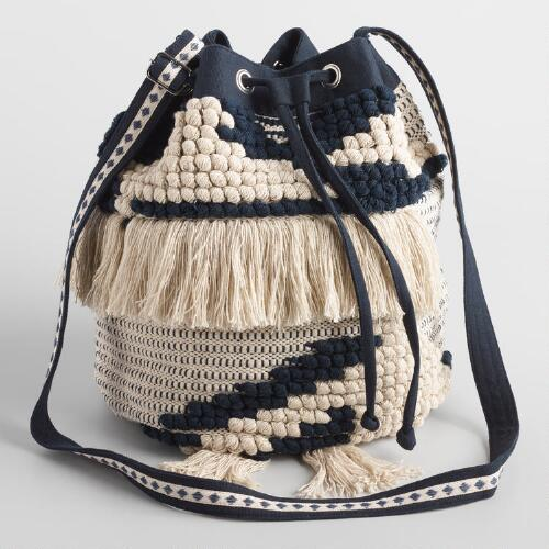 Navy and Ivory Bucket Bag with Fringe