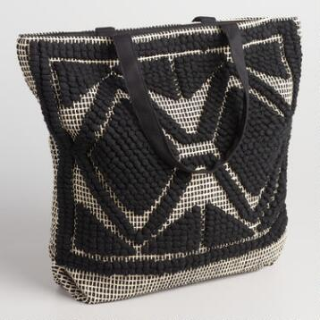 Black and White Dot Weave Tote