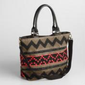 Olive, Black and Red Woven Weekender Bag