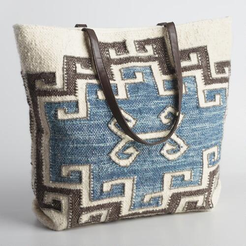 Large Ivory and Blue Wool Tote