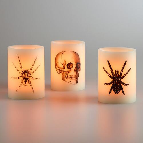 Bug and Skull Flameless LED Pillar Candles Set of 3