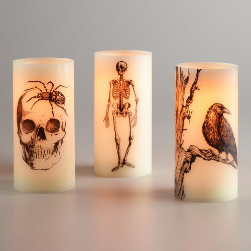 Skeleton Bug and Raven Flameless LED Pillar Candles Set of 3