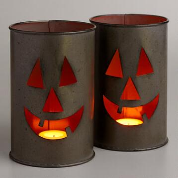 Tin Jack O Lantern Candleholder Set of 2