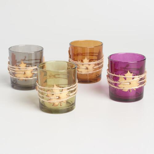 Leaf Wrapped Tealight Candleholders Set of 4