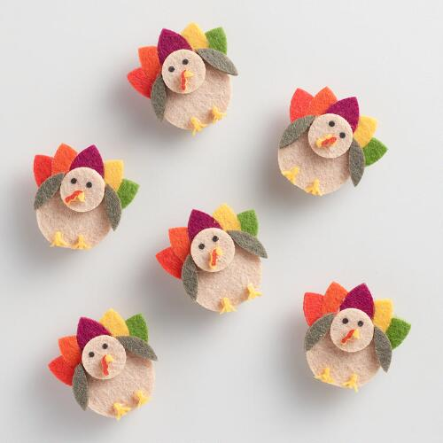Felt Turkey Clips Set of 6