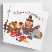Nerdy Turkey Beverage Napkins 20 Count