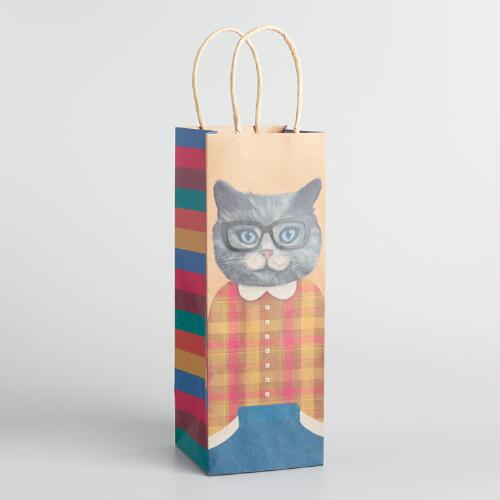 Cat Kraft Wine Bags Set of 2