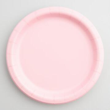 Light Pink Paper Party Plates Set of 2