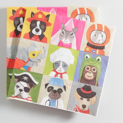 Dress Up Animals Lunch Napkins 20 count
