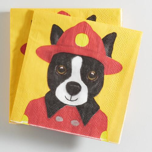 Fireman Dog Beverage Napkins Set of 2