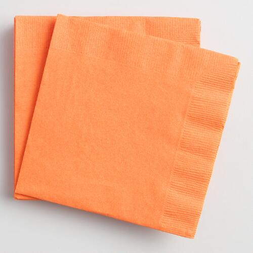 Orange Beverage Napkins Set of 2