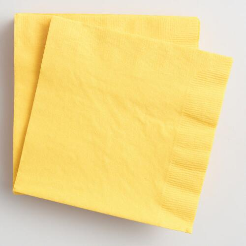 Yellow Beverage Napkins Set of 2