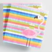 Flamingo Stripe Beverage Napkins Set of 2