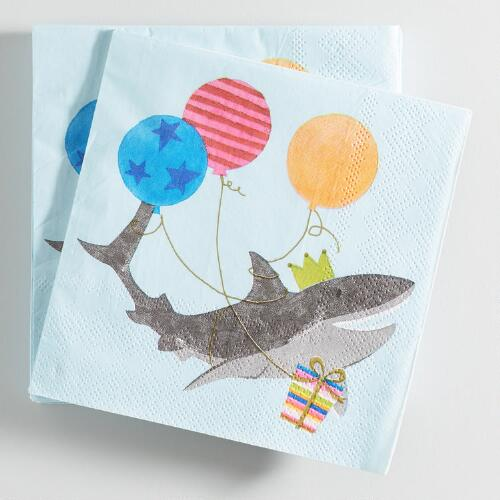 Blue Shark Beverage Napkins Set of 2