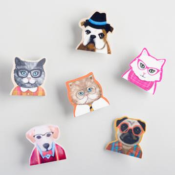 Wood Cat and Dog Clips Set of  6