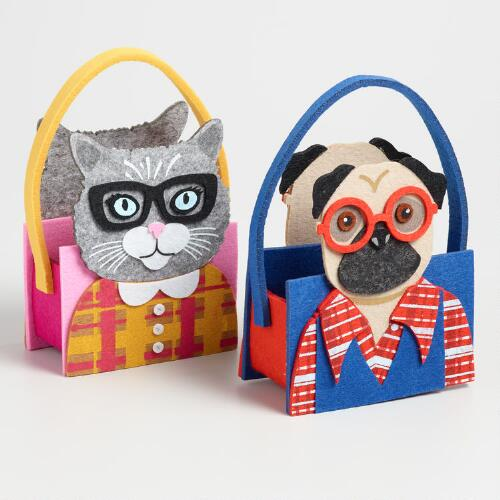 Felt Cat and Dog Containers Set of 2