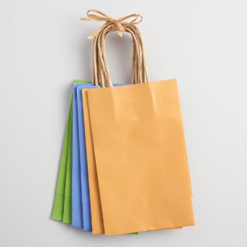 Small Blue and Yellow Kraft Gift Bags Set of 6