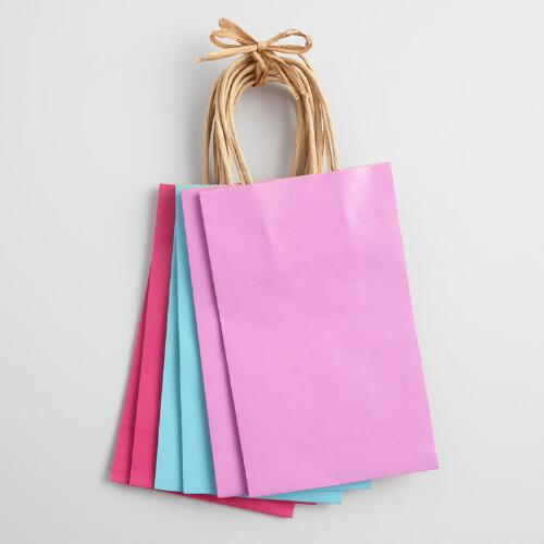 Small Turquoise and Pink Kraft Gift Bags Set of 6