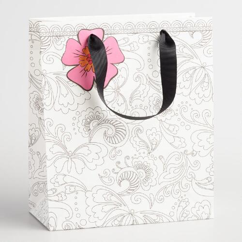 Medium Floral Color Your Own Kraft Gift Bags Set of 2