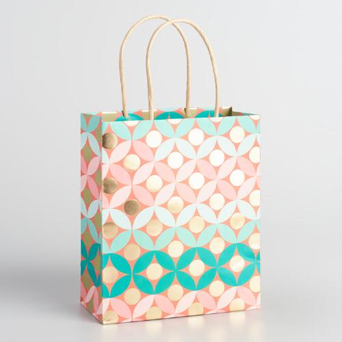 Geo Stripe Medium Kraft Gift Bags Set of 2