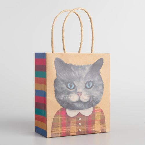 Small Girl Cat with Collar Kraft Gift Bags Set of 2