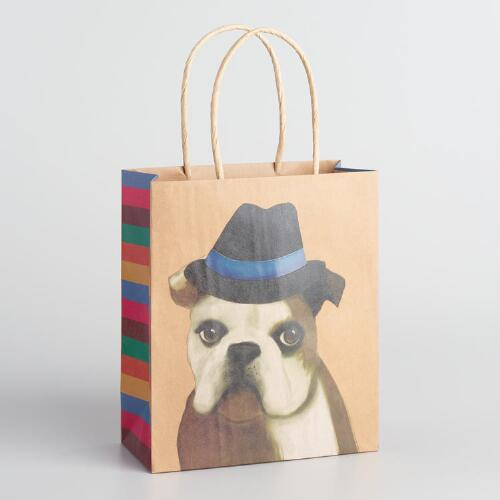 Medium Bulldog with Hat Kraft Gift Bags Set of 2