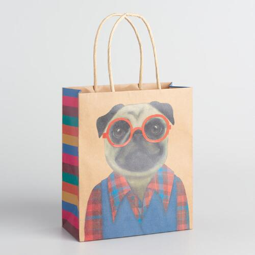Medium Retro Pug Kraft Gift Bags Set of 2