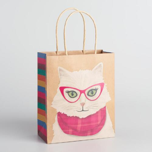 Medium Scarf Cat Kraft Gift Bags Set of 2