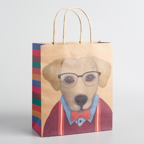 Large Amber Dog with Glasses Kraft Gift Bags Set of 2
