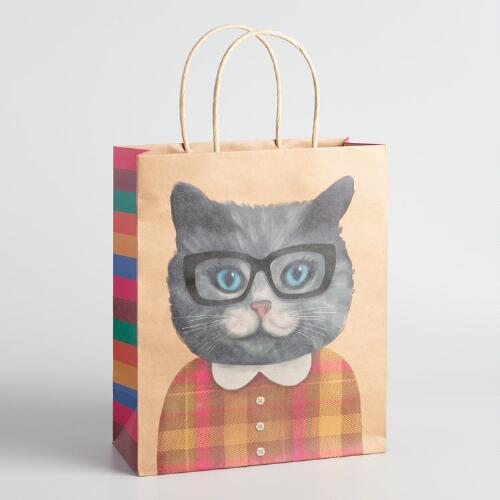 Large Girl Cat with Collar Kraft Gift Bags Set of 2