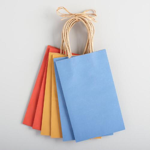 Small Fall Kraft Gift Bags 6-Packs, Set of 2