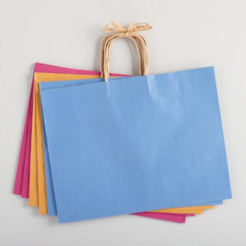 Large Fall Kraft Gift Bags Set of 6