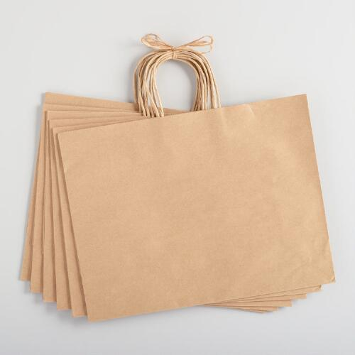 Large Handmade Kraft Gift Bags Set of 6