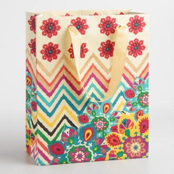 Large ZigZag Flower Medallion Handmade Gift Bag